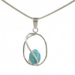 Cavendish French  Silver Turquoise Pendant and Chain 1205