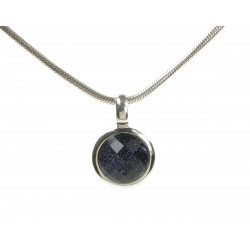 Cavendish French Silver Blue Sandstone Silver Surround Round Pendant 1957
