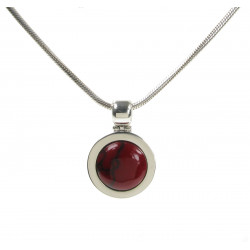 Cavendish French Silver and Formed Red Jasper Bowler Hat Pendant 1961