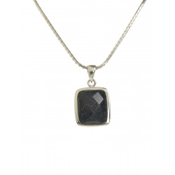 Cavendish French Silver and  Square Blue Sandstone Pendant 1999