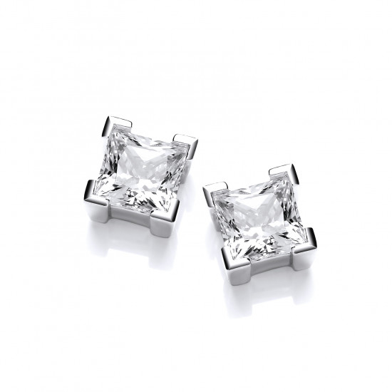 Cavendish French Sterling Silver and Crystal Square Earrings 4709
