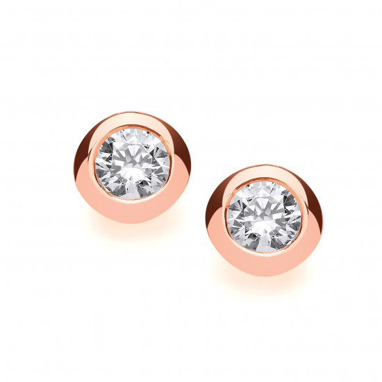 Cavendish French Rose Gold and Silver Open Backed CZ Solitaire Earrings 1/4 Carat 4783R-4