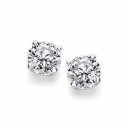 Cavendish French Silver Simple Cubic Zirconia Solitaire Stud Earrings 1 1/2 Carat 4863-8