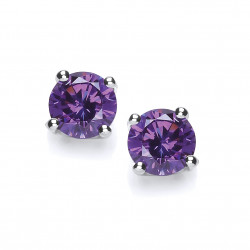 Cavendish French Sterling Silver Simple Amethyst Cubic Zirconia Solitaire Stud Earrings 4863A-5