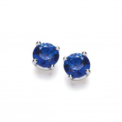 Cavendish French Sterling Silver Simple Sapphire Cubic Zirconia Solitaire Stud Earrings 4836B-5