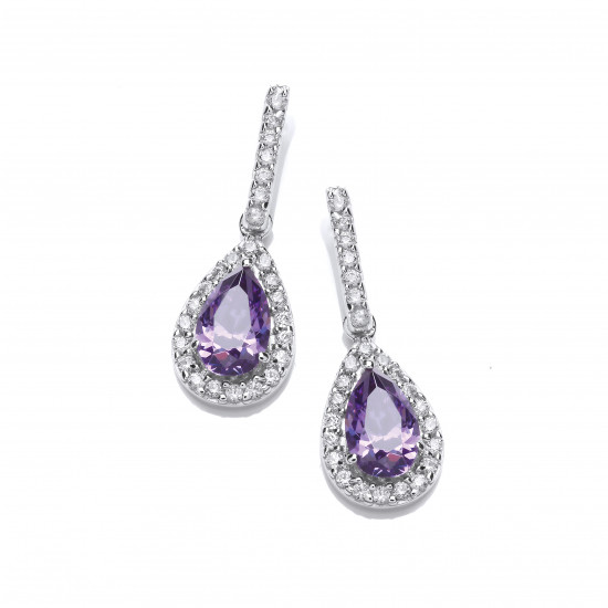 Cavendish French Ornate Silver and Amethyst CZ Teardrop Earrings 5059A