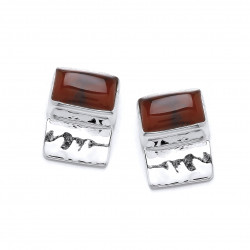Cavendish French Silver and Red Jasper Oblongs Earrings 5251