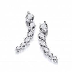 Cavendish French Silver Curvy Cubic Zirconia Climber Earrings 5332