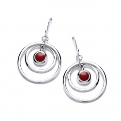 Cavendish French Silver and Red Jasper Hoopla Earrings 5416