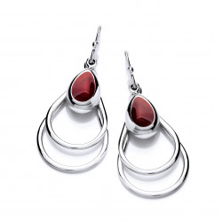 Cavendish French Silver and Red Jasper Double Drop Earrings 5417