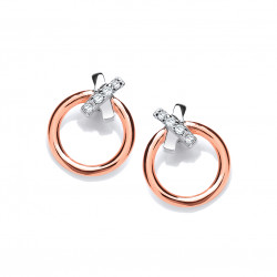 Cavendish French Silver and Rose Gold Dainty Earrings 5432