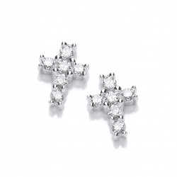 Cavendish French Silver and Cubic Zirconia Mini Cross Earrings 5460