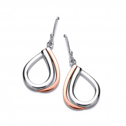 Cavendish French Silver and Copper Double Teardrop Earrings 5587