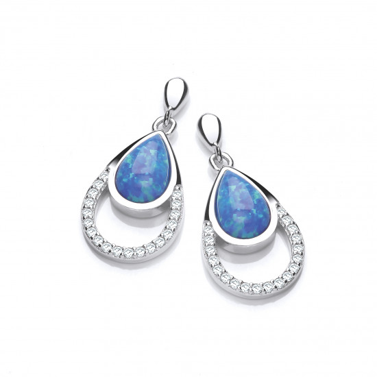 Cavendish French Silver, CZ and Blue Opalique Teardrop Earrings 5672