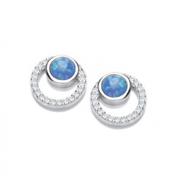 Cavendish French Silver CZ and Blue Opalique Circles Earrings 5682
