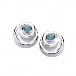 Cavendish French Silver and Turquoise Spiral Earrings 5744