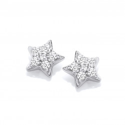 Cavendish French Silver & Cubic Zirconia Star Stud Earrings 5765