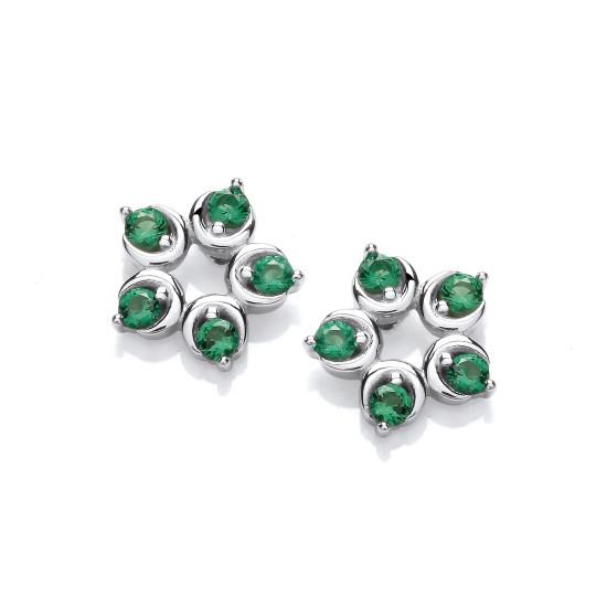 Cavendish French Emerald Cubic Zirconia Flower Stud Earrings CF380