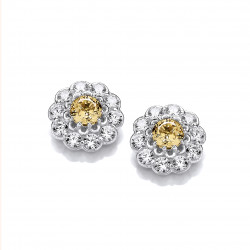 Cavendish French Silver and Citrine CZ Flower Earrings 5832