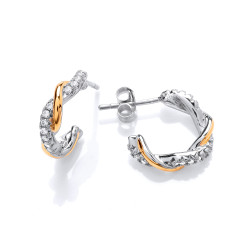 Cavendish French Silver Gold and Cubic Zirconia Twist Hoop Earrings CF372