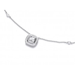 Cavendish French Round Suround Silver and Cubic Zirconia Necklace 6264