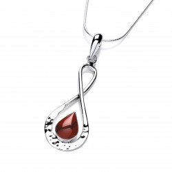 Cavendish French Silver Figure of Eight Pendant with Red Jasper 6293