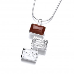 Cavendish French Silver and Red Jasper Oblongs Pendant 6329