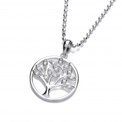 Cavendish French Cubic Zirconia Tree of Life Design Pendant and Chain 6412