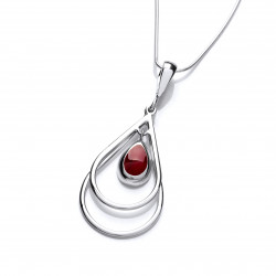 Cavendish French Silver and Red Jasper Double Drop Pendant 6449