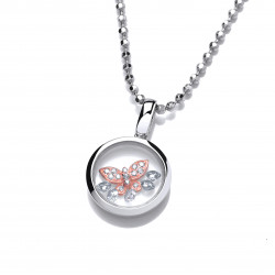 Cavendish French Celestial Silver and Rose Gold Mini Butterfly Pendant and Chain 6485
