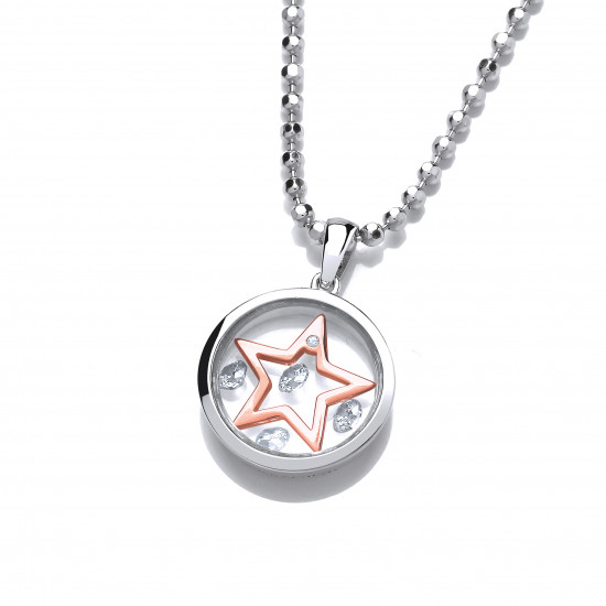 Cavendish French Celestial Silver and Rose Gold Mini Shooting Star Pendant 6491