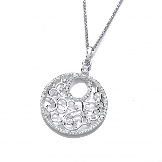 Cavendish French Ornate Silver and CZ Circular Pendant 6571