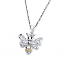 Cavendish French Silver and CZ Yellow Honey Bee Pendant 6666