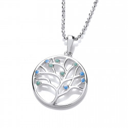 Cavendish French Silver and Blue Opalique Tree of Life Design Pendant 6674