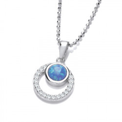 Cavendish French Silver CZ and Blue Opalique Circles Pendant and Chain 6680