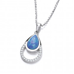 Cavendish French Silver, CZ and Blue Opalique Teardrop Pendant 6681