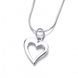 Cavendish French  Silver Quirky Heart Pendant and Chain 6694