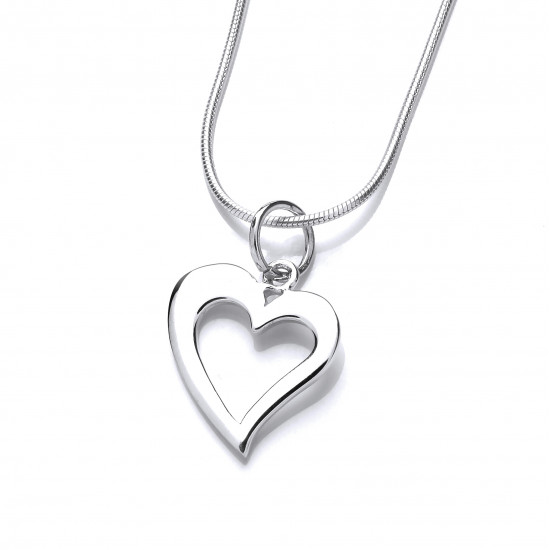 Cavendish French  Silver Quirky Heart Pendant 6694