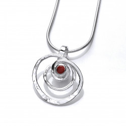 Cavendish French Silver and Red Jasper Spiral Pendant and Chain 6745