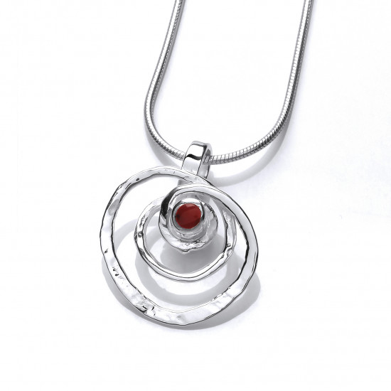 Cavendish French Silver and Red Jasper Spiral Pendant 6745
