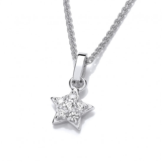 Cavendish French Silver & Cubic Zirconia Star Stud Pendant 6765