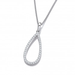 Cavendish French Silver & Cubic Zirconia Loop Drop Pendant without Chain 6767