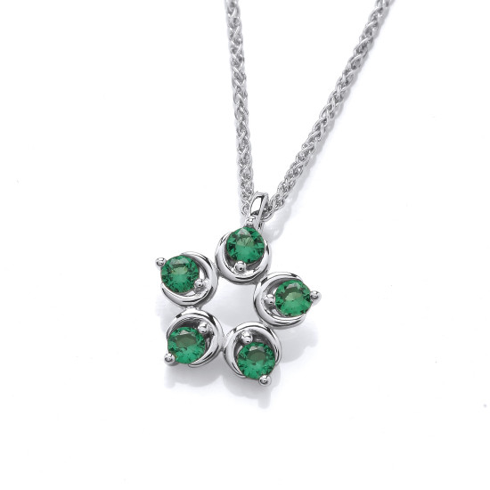 Cavendish French Emerald Cubic Zirconia Flower Pendant and Chain CF378