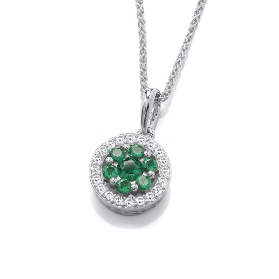 Cavendish French Emerald Cubic Zirconia Pendant and Chain CF376