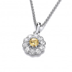 Cavendish French Silver and Citrine Cubic Zirconia Flower Necklace 6824