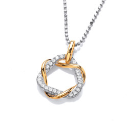 Cavendish French Silver Gold and Cubic Zirconia Twist Pendant and Chain CF370