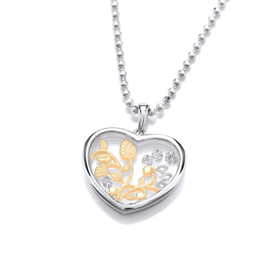Cavendish French Celestial CZ Heart Pendant and Chain CF382