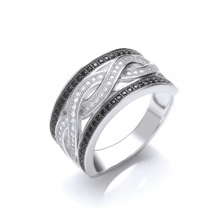 Cavendish French Silver CZ Wave Ring 7251