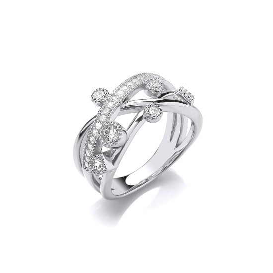 Cavendish French Silver Sassy Solitaires and Strands CZ Ring CF381