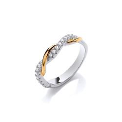 Cavendish French Silver Gold and Cubic Zirconia Slim Twist Ring CF373